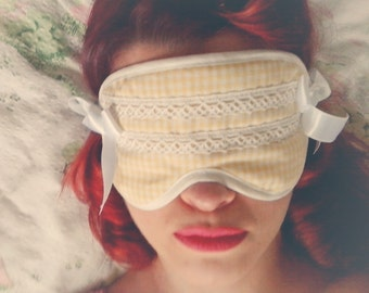 Yellow Gingham Vintage Inspired Lolita Sleep Mask by BlancheOfArts