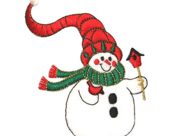 ID 8010 Snowman With Bird Patch Winter Hat Fuzzy Embroidered Iron On Applique