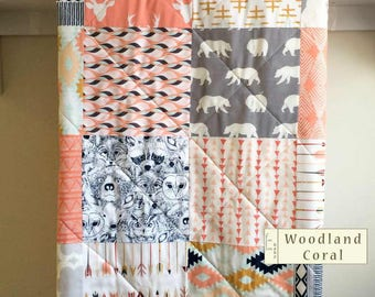 Woodland Baby Quilt Girl, Coral Grey Baby Quilt Handmade, Deer Quilt, Baby Girl Blanket, Crib Bedding, Girl Crib Bedding, Woodland Coral