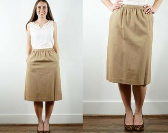 1980s Beige Wool Skirt