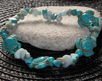 Cute Turquoise Howlite Turtle Bracelet