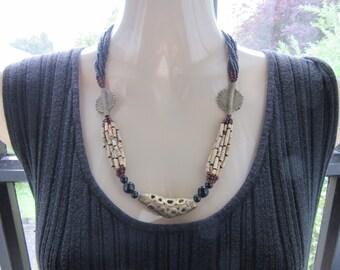 West African Brass & Bead Necklace - vintage - antique ?