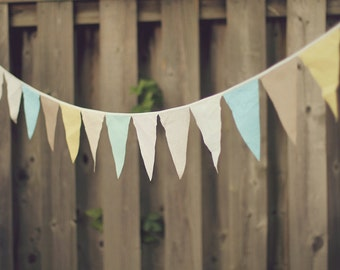 Fabric Bunting Banner, Fabric Bunting Wedding, Fabric Garland Backdrop, Fabric Garland Nursery Girl, Gender Neutral Baby Shower Decorations