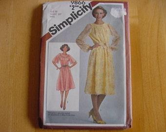 Vintage 1980s Simplicity Pattern 9866, Misses Dress and Sash, Raglan Sleeves, Size 10, Bust 32 1/2, Uncut