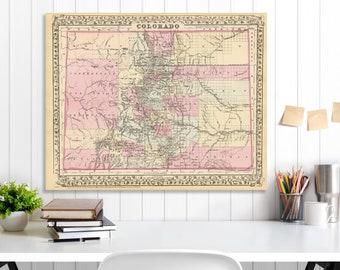 Colorado State Map, Colorado Map Canvas, Antiqued Colorado Map, Canvas Wall Decor, Colorado Wall Decor, Map of Colorado Canvas