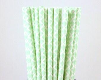 Mint Green Damask Paper Straws-Mint Green Straws-Damask Straws-Party Straws-Wedding Straws-Mason Jar Straws-Quatrefoil Straws-Paper Straws