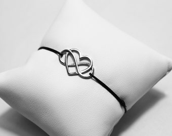 Heart bracelet infinity 925 sterling silver wire Jade cord guarantees the originality