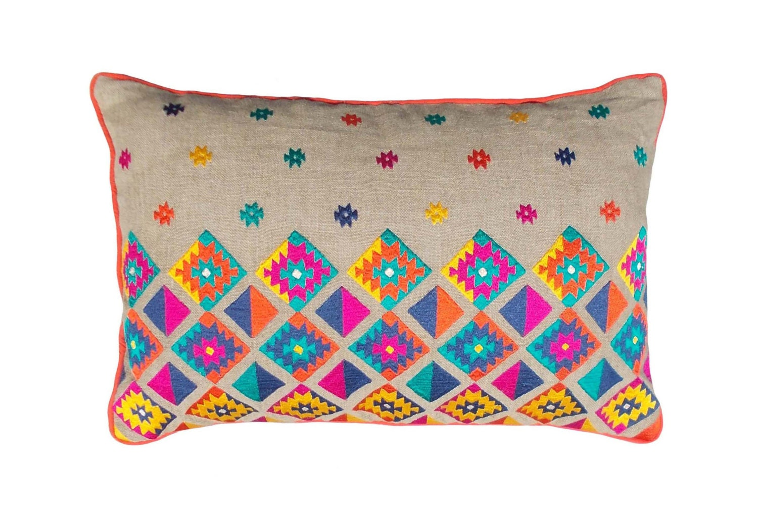 Colorful bohemian style linen pillow cover embroidered