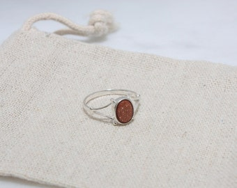 Goldstone Ring - Sterling Silver Ring, Womens Ring, Brown Goldstone ring, Gifts for Her, Shiny Ring, Shimmer Ring, Minimalist Ring