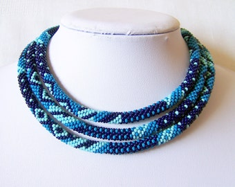 Long Beaded Crochet Rope Necklace - Beadwork - Seed beads jewelry - Elegant - Geometric  - Patchwork - Sky blue - Dark blue - Blue