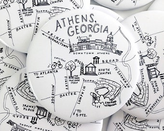 Athens, Georgia Black and White Map Magnet
