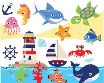 INSTANT DOWNLOAD. Sea animals clip art. Csea_ 9. Personal and commercial use.