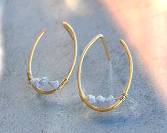 Oval hoop earrings gold dangles - rough hoop gold filled - gift women - Christin Piedra