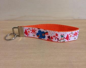 Orange with flowers key ring wristlet - key fob wristlet - key ring - flower key fob