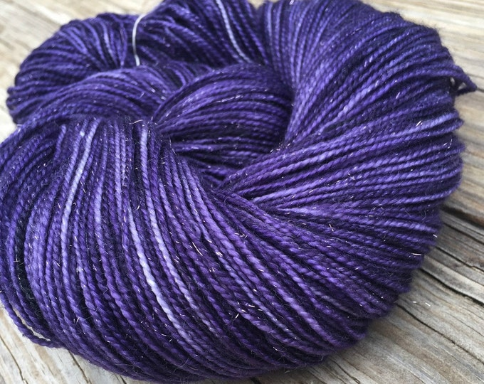 Sparkle Sock Yarn the King's Cloak Royal Purple Hand Dyed Hand Painted sock yarn 438 yards superwash merino nylon stellina fingering swm
