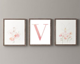 Letter V | Nursery Print | Nursery Art | Alphabet | Instant Download | Digital Print | Wall Art | Baby Girl | Initials | Pink | Watercolor