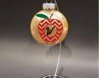 Small Teacher Disk Ornament- Teacher's Christmas Gift, Teacher assistant's Gift, Personalized teacher gift, Teacher apple ornament, monogram