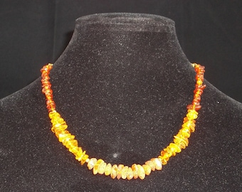 Amber and gold plated sterling silver necklace