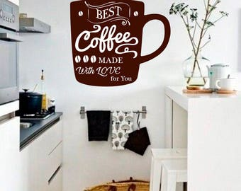 Coffee wall sticker-Kitchen wall decal-Cup of coffee Wall decal-Coffee cup decal-Kitchen quote decal-Kitchen decor-Dining Room Decor