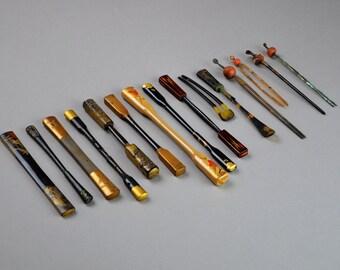 Antique Kanzashi Collection of 15 Japanese Kogai. Kushi Hair pin  Stick Geisha Maiko Gion Hair Ornament Decoration