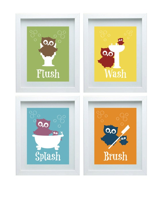 Superior Bathroom Rules Art Kids Bathroom Decor Owl Wall Decor Set Of