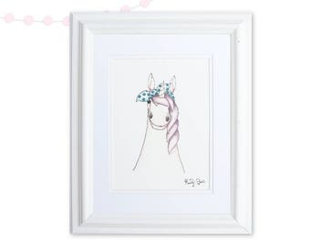 Watercolor Unicorn Nursery Print   Unicorn Gift   Unicorn Party   Girl Nursery Decor   Baby Girl Watercolor   Teal Purple Pink Nursery Art