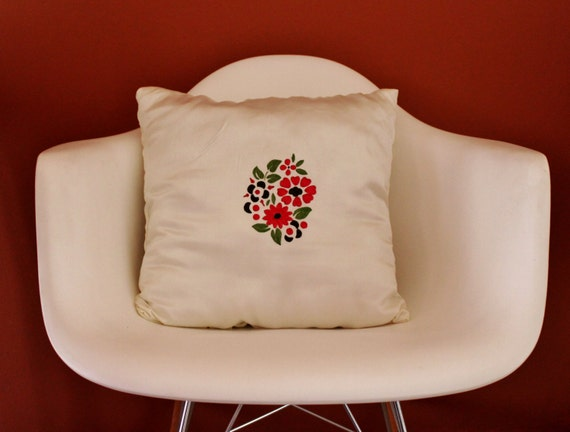 Handmade White Satin CUSHION, Flower Hand-Painted Cushion, White Satin Cushion