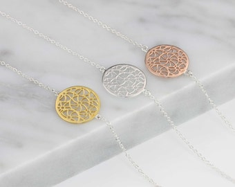 Filigree Disc Bracelet in Solid Silver, Rose Gold Vermeil or Gold Vermeil