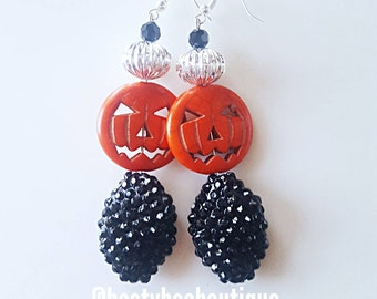 CLEARANCE! Halloween Earrings Pumpkin Dangle Chandelier Earrings Crystal Earrings Halloween Earrings Weddings Bridesmaids Chunky Earrings