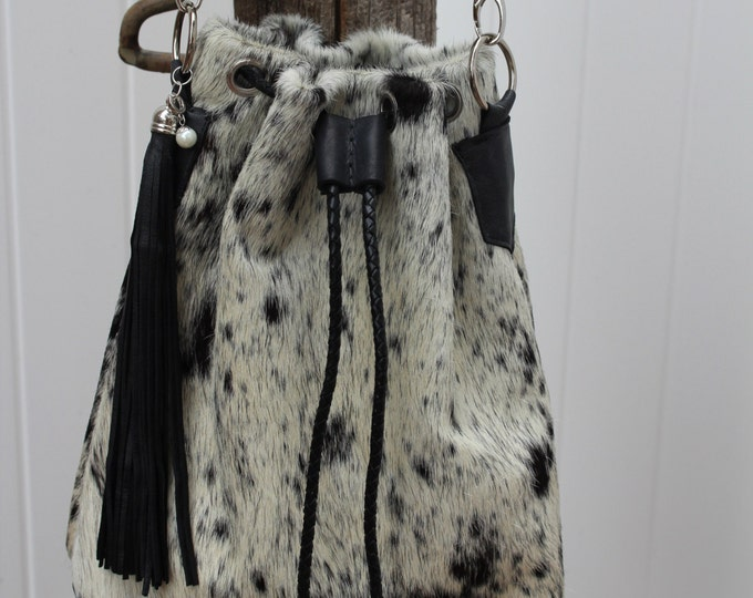 Cowhide Drawstring Bag