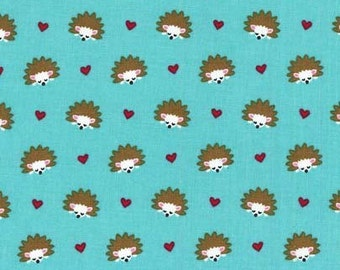 Michael Miller Hedgehog Heaven Turquoise fabric - 1 yard