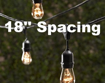 Vintage Patio String Lights w/ Black Cord & Clear Glass Edison Bulbs - 18'' Spacing