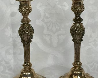 Antique Pair of Patina Silver Black Nickel Carved Floral Candlestick Holders Floral Motif Handsome Size Rare