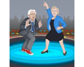 Elizabeth Warren and Bernie Sanders Disco Night Print