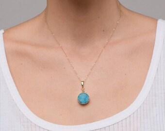 Aquamarine Druzy Necklace/Aqua Druzy Pendant/Blue Druzy pendant Necklace and Herkimer Diamond Dangle/Aqua Druzy Necklace/Blue Druzy Necklace
