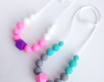 Toddler Silicone Necklace, Geometric Silicone Teething Beads, Little Girls Hexagon Silicone Beads, Silicone Bead Teething Necklace