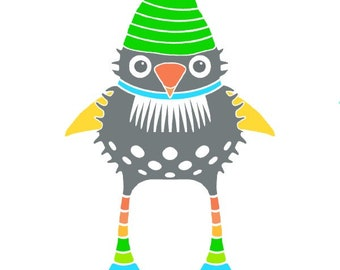 Gnome print bird illustration whimsical bird art for kids funny gnome illustration room decor cute gnome art nursery wall art striped hat