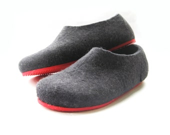 Black Felt Slippers - Wool Slippers - Color Blocking - Minimalist Shoes - Mix and Match - Rubber Soles - Natural Shoes - House Shoes