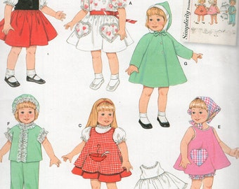"Simplicity 2454 Free Us Ship 50's Reproduction 16- 18""Doll Clothes Wardrobe New Sewing Pattern Out of Print"