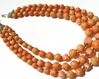 Orange vintage 1960 faux pearl necklace signed Hong Kong