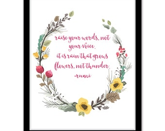 Raise Your Voice - Rumi Quote Print