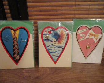 Vintage Valentines Cards Set of Three Heart Shaped Cards (1980s)