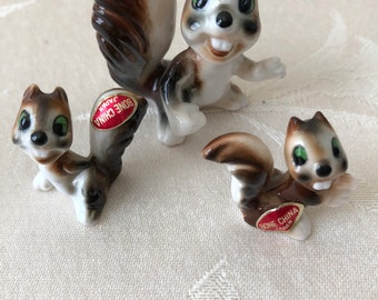 Miniature Bone China Family of Squirrels
