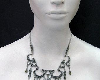 Black Diamond Swarovski Crystal Silver Plated Necklace 6636