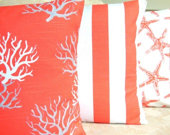 Coral Nautical Decorative Throw Pillow Cushion COVERS Accent Beach Pillows 3 SIZES Coastal Coral Gray White Pillow for Couch Cottage Sofa