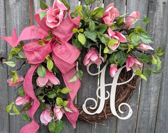 Spring / Summer Wreath, Magnolia Wreath, Pink Magnolia Wreath for Spring and Summer