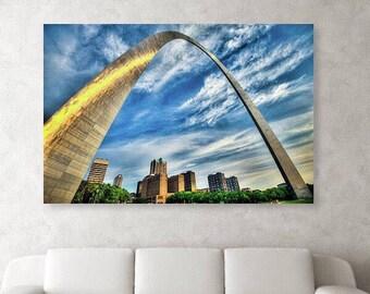 Saint Louis Skyline and Arch - Missouri - Cityscape - St Louis Gateway Arch - Wall Art - Home Decor