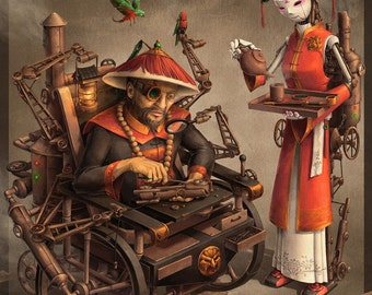 Imperial Inventor Chinese Steampunk Print by James Ng
