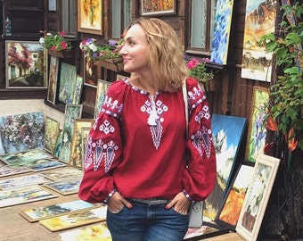 "Red  blouse vyshyvanka ""Dream"" of 100% linen Boho Style Ukrainian vyshyvanka blouse embroidered shirt Ukrainian clothing"