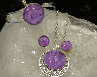 3 pcs purple abstract set, wearable art, statement jewelry set, custom, hand painted abstract design, unique and tasteful.